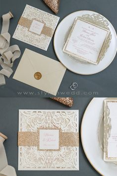 This gorgeous ivory laser cut wrap features a rose gold glittery belly band with tag and a rose gold backer. It is perfect for any wedding and breathtakingly beautiful!❤❤❤ #weddingideas#weddinginvitations#stylishwedd #stylishweddinvitations #lasercutweddinginvitations#springwedding#summerwedding#2021wedding