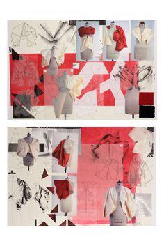 Fashion Sketchbook design  development - Japanese design-inspired box project; origami fashion; the fashion design process // Natasha Elliott