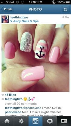 Pink and silver glitter stripe anchor summer nailart #nailart #nails #summer #pink #silver #glitter #stripe #anchor @JenniferW