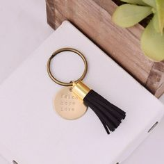 Sorority Motto Tassel Keychain - the perfect subtle gift for a sorority grad! Shop the collection at www.alistgreek.com