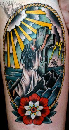 One of the best Rock Of Ages tattoos ive seen. Very traditional. Yet old school