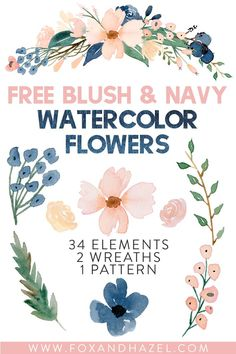 Use these free blush & navy watercolor flowers for your next project! Perfect for invitations, prints and more. Free Watercolor Flowers, Floral Watercolor, Watercolor Trees, Watercolor Design, Watercolor Portraits, Watercolor Landscape, Watercolor Painting, Watercolors, Freebies