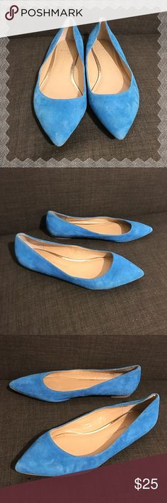 Blue Suede Banana Republic Flats Size 9.5 Blue suede Banana Republic flats size 9.5. Good used condition, some wear as shown in the picture. High quality, beautiful shoes! Banana Republic Shoes Flats & Loafers