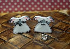 The Snazzy Schnauzer earrings--  Illustrated &  HandMade by WendyFergusonDesigns, $12.00