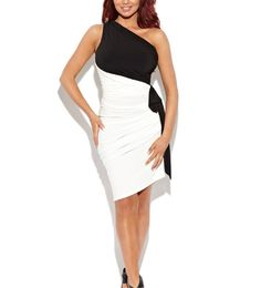 Black White One Shoulder Pleated Dress