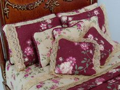 Victorian Bed PIllows, Dollhouse Miniatures by Deb's Mini by debsminis, via Flickr