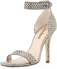 $87, Grey Snake Leather Heeled Sandals: Neiman Marcus Yani Snake Print Ankle Strap Sandal Marble. Sold by Neiman Marcus. Click for more info: https://lookastic.com/women/shop_items/132393/redirect