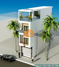 Flat House Design, 3 Storey House Design, Narrow House Designs, Bungalow House Design, House Front Design, Modern House Design, Front Elevation Designs, House Elevation, Townhouse Interior