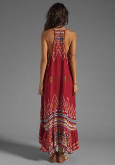 INDAH Leyti High-Low Ruffle Sundress in Red Endek