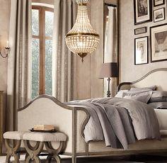 Spare Bedroom. Love the chandelier