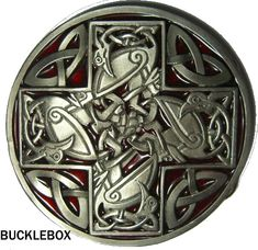 CELTIC CROSS red Belt Buckle display stand