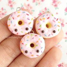 Strawberry Frosted Donut with Rainbow Sprinkles Polymer Clay