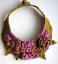 Frida Kahlo inspired Lilac Meadow -- Felted Neck Piece -- made from wool Felt Necklace, Collar Necklace, Crochet Necklace, Textile Jewelry, Fabric Jewelry, Felted Jewelry, Jewellery, Wet Felting, Needle Felting