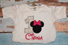 Gray sequin Minnie Mouse Birthday Shirt by SpoiledSweetkids