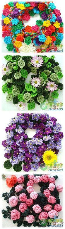 Crochet wreaths no pattern Crochet Home, Love Crochet, Crochet Motif, Irish Crochet, Crochet Crafts, Yarn Crafts, Crochet Projects, Knit Crochet, Knitted Flowers