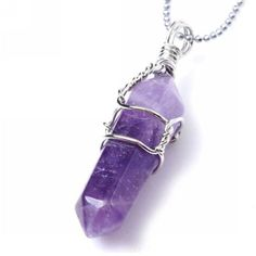 Amazon.com: Top Quality Natural Amethyst Healing Point Reiki Chakra... ($5.29) ❤ liked on Polyvore featuring jewelry, necklaces, gemstone pendants, amethyst pendant, gem pendant necklace, amethyst necklace and amethyst stone pendant