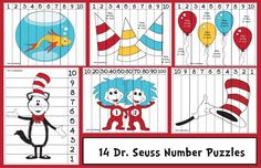 Math activities: FREE Seuss-themed number puzzles, help practice sequencing numbers from counting backwards from plus skip counting by to Dr. Seuss, Dr Seuss Week, In Kindergarten, Math Activities, Preschool Activities, Math Games, Circus Activities, Numbers Preschool, Preschool Learning