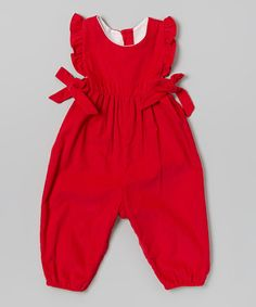 Take a look at this Red Ruffle Berkley Overalls - Infant & Toddler on zulily today!