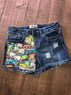 cb71cc6e38 Girls Shorts- Boys Shorts- 90's Cartoon Shorties- Rugrats Kids Shorts-  Distressed Shorts- Baby Girl Shorts- Baby Boy Shorts- Kids Fashion