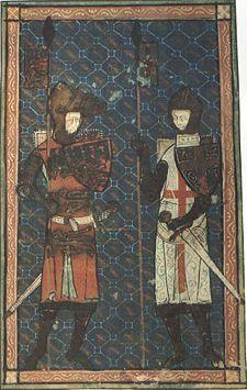 "Edmund ""Crouchback"" Plantagenet (1245 - 1296)   and St. George.  Crouchback meaning Crossback, or the Crusader Cross."