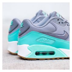 Nike Women s Air Max 90  Wolf Grey Stealth Hyper Turquoise White Jordan  Basketball 475efc423693