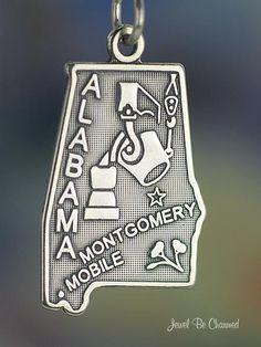 Alabama Charm Sterling Silver State America USA. $11.95, via Etsy.
