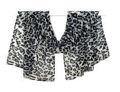 Gray Leopard Scarf, Chiffon Scarf, Print Scarf, Silk Scarf, Gray Scarf, Autumn Scarf, Neck Scarf, Hair Scarf, Pattern Scarf, Womens Clothing,