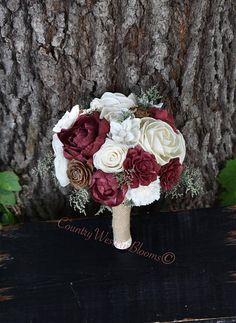 Wedding Bouquet Maroon Bouquet Burgundy Bouquet Rustic Bouquet