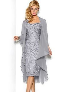 Lace Solid Knee-Length Elegant Wrap Dresses (1027649) @ floryday.com