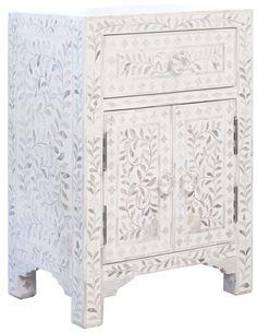 Buy Online-Embossed White Metal One Drawer Two Door Bedside Table ...