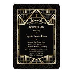 Gold Great Gatsby Art Deco Bachelorette Party Card - invitations custom unique diy personalize occasions