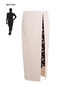 Cute pencil skirt with a lace slit!