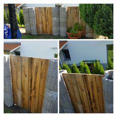 Cool Gartenzaun aus Halbrunder Pflanzsteine und Europaletten Eine schnelle L sung ohne bohren schaufeln betonieren