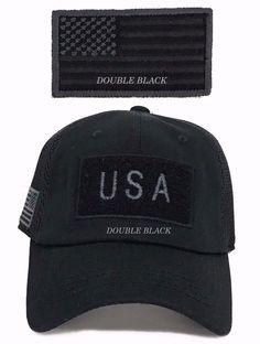 bfb4880e560 USA American Flag Tactical Operator Hat Military Mesh Trucker Baseball Cap  Black