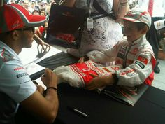 Lewis Hamilton's littlest biggest fan at today's fan signing session at Albert Park! Awww!