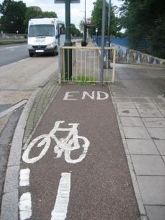 At least it warns you that the bike path ends