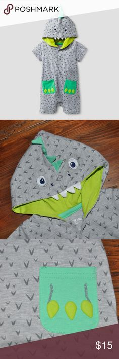 New BABY GRANT SIGNATURE Boys Dino Hooded Romper Watch him RAWR in the Baby Boys' Dino Hooded Romper Heather Grey - Baby Grand Signature. This baby boys' romper has short sleeves and buttons at the neck.  size 0/3M new without tags color: heather gray  Cotton/poly blend for softness One-piece romper with dino hood Lightweight fabric in grey and green Machine wash for easy care  More kids clothes in my posh closet @cjrose25 . Bundle your likes for a discount & save on shipping. Baby Grant…