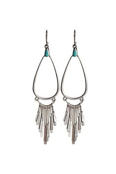 Dangling Silver Teardrop Earrings - Tribal Prints Shop - Lucky Brand Jeans. Crazy about that teensy blue stone:]