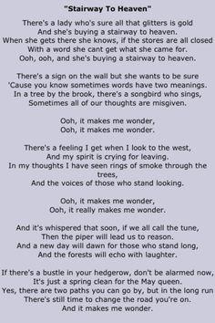 led zeppelin's stairway to heaven full lyrics Great Song Lyrics, Music Lyrics, Music Songs, Stairway To Heaven Lyrics, Guitar Chords For Songs, Ukulele, Song Words, Rock Songs, I Love Music