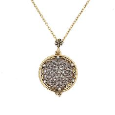 Usea Vintage Hollow Snowflake Pendant Magnifying Glass Women Jewelry Necklace With Long Chain