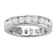 3.00 CT TW Round Diamond Eternity Wedding Band in Platinum Channel Setting: Jewelry: Amazon.com