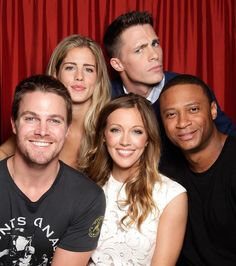 Emily Bett Rickards, Colton Haynes, Stephen Amell, Katie Cassidy, and David Damsey