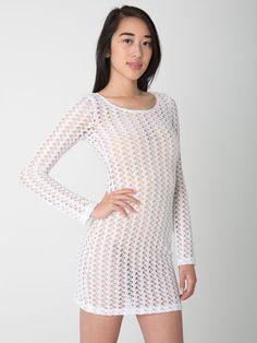 Crochet Long Sleeve Dress. #AmericanApparel