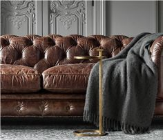 RH's Kensington Leather Sofa:A masterful reproduction by Timothy Oulton of the classic Chesterfield style, our sofa evokes the grand gentlemen's club tradition. Cuir Center, Chesterfield Couch, Kensington, Diy Sofa, Modern Shop, Living Room Sofa, Sofa Design, Design Design, Restoration Hardware