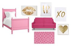 """""""Pink and gold bedroom"""" by emma7485 ❤ liked on Polyvore featuring Redford House, Loloi Rugs, xO Design, Oliver Gal Artist Co., bedroom, women's clothing, women, female, woman and misses"""