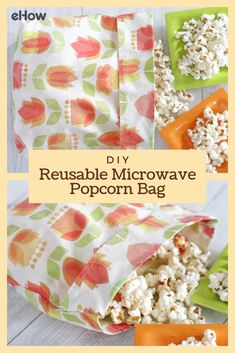 DIY Reusable Microwave Popcorn Bag Ditch those greasy, chemical-laden, store-bought microwave popcorn bags and make an eco-friendly, reusable one! Easy Sewing Projects, Sewing Projects For Beginners, Sewing Hacks, Sewing Tutorials, Sewing Crafts, Sewing Tips, Sewing Art, Crafty Projects, Sewing Patterns Free