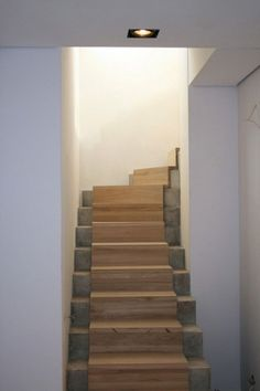 Phenomenon 30 Marvelous And Creative Indoor Wood Stairs Design Ideas You Never Seen Before decoor. Basement Staircase, Basement Steps, Oak Stairs, Concrete Stairs, Wooden Stairs, Modern Staircase, House Stairs, Staircase Design, Stair Design