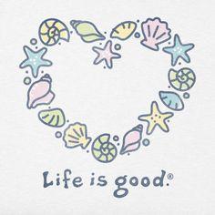 Sea Shell Heart Life is good Shell Tattoos, Sun Tattoos, I Tattoo, Tatoos, Beach Tattoos, Life Is Good Store, Creature Drawings, Beautiful Fantasy Art, Hawaiian Tattoo