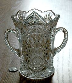 EAPG antique HIGBEE glass CELERY vase ALPHA Alfa Rexford Euclid Boylan 1908 1919