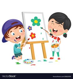 Kids painting on canvas vector image on VectorStock Painting Pictures For Kids, Pictures To Paint, Painting For Kids, Bee Crafts For Kids, Preschool Crafts, Family Illustration, Cute Illustration, Drawing For Kids, Art For Kids